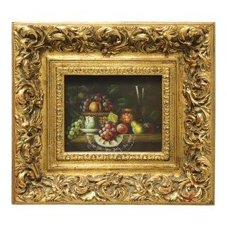 20th Century Original Oil on Canvas - Fruit Basket - Signed W. Jenkins For Sale