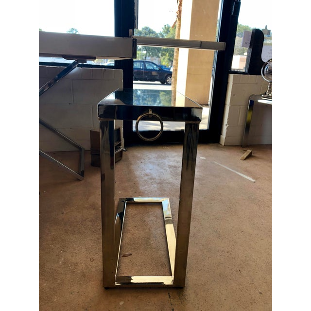 Contemporary Black Granite and Chrome C Table For Sale - Image 4 of 9