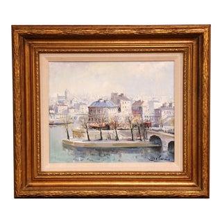 """Framed Oil on Canvas Painting """"L'Ile Saint-Louis, Paris"""" Signed Lucien Delarue For Sale"""