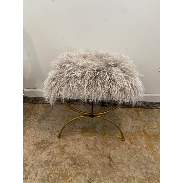 Textile Mongolian Mohair Vintage Vanity Stool For Sale - Image 7 of 7