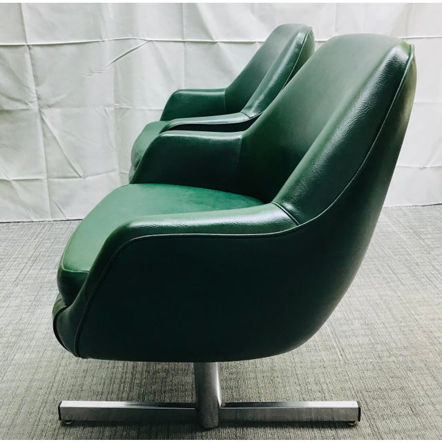Mid-Century Modern Dark Green Leatherette Tandem Seat For Sale - Image 4 of 12