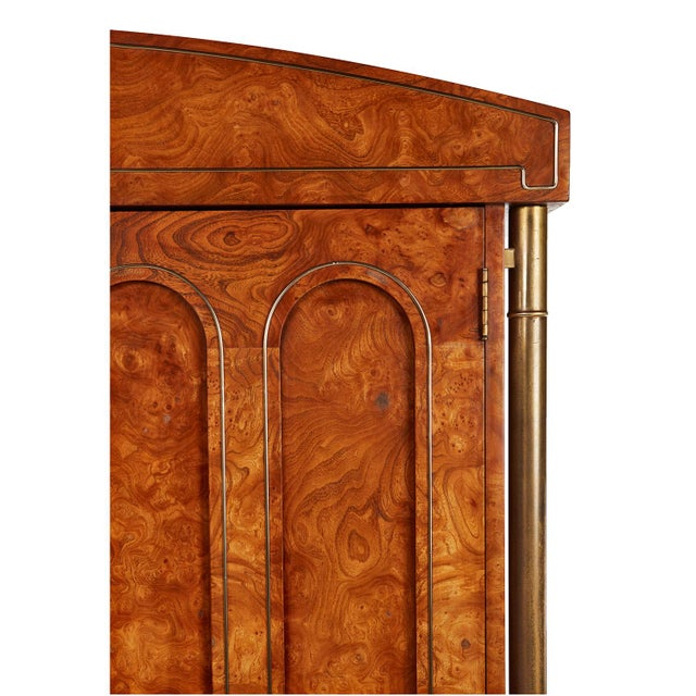 Mastercraft Hollywood Regency Burl Wood Brass Armoire For Sale - Image 6 of 8
