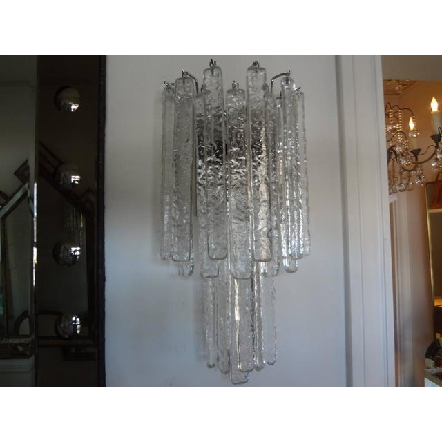 1970s Vintage Mid-Century Italian Venini Style Murano Glass Icicle Sconces - A Pair For Sale - Image 5 of 7