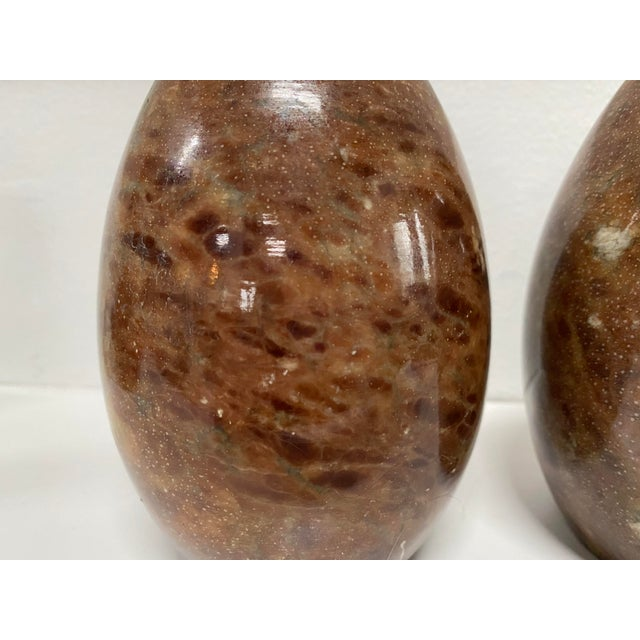 Burnt Umber Vintage Italian Marble Egg Bookends - a Pair For Sale - Image 8 of 12