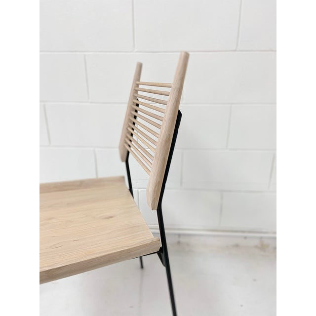 Paul McCobb Style Oak and Iron Chairs- Set of 4 For Sale - Image 4 of 13