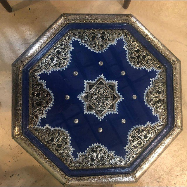 Moroccan Silver Metal Brass Inlaid Side Tables - a Pair For Sale - Image 9 of 13