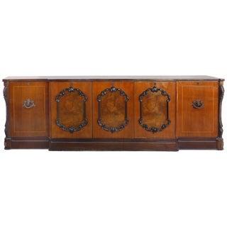 Large Classical Mahogany, Walnut, Satinwood & Ebonized Wood Sideboard/Credenza For Sale