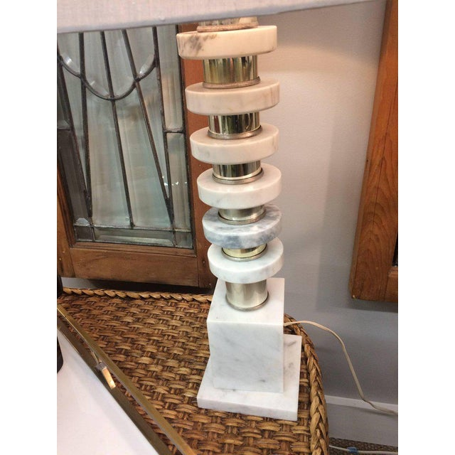 Contemporary Italian Mid-Century Modern Marble & Chrome Lamps - a Pair For Sale - Image 3 of 6