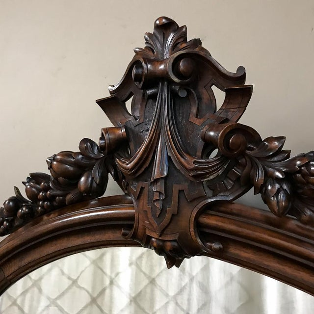 Wood 19th Century French Louis XVI Walnut Oval Mirror For Sale - Image 7 of 13