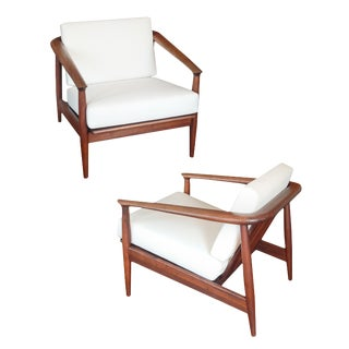 Mid-Century Barrel Back Teak Armchairs - a Pair For Sale