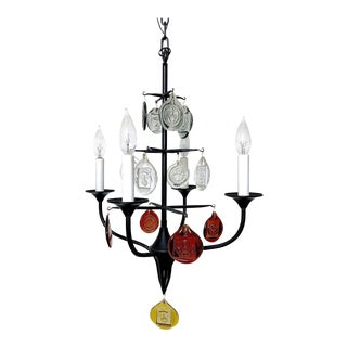 Erik Hoglund Iron & Glass Candelabra Chandelier, 1950's For Sale
