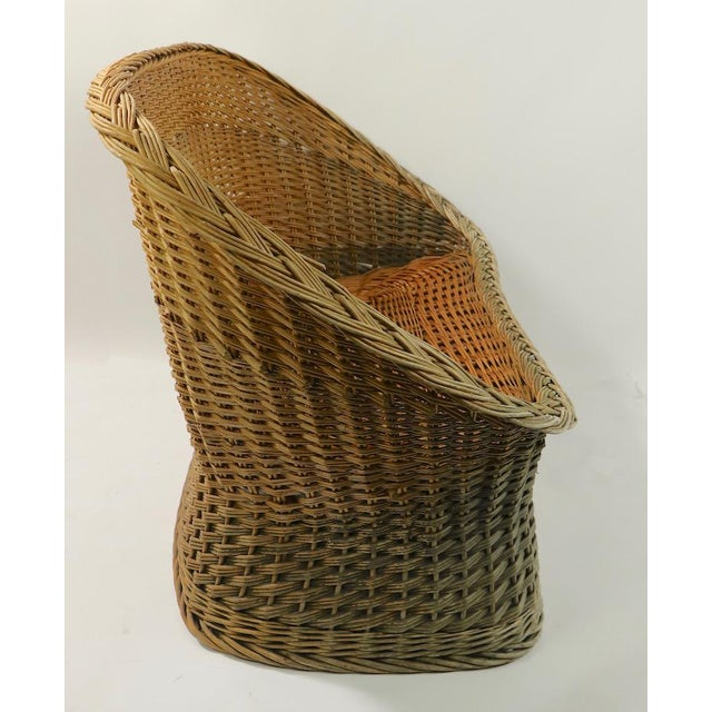 Mod Bar Harbor Style Woven Wicker Settee For Sale - Image 10 of 13