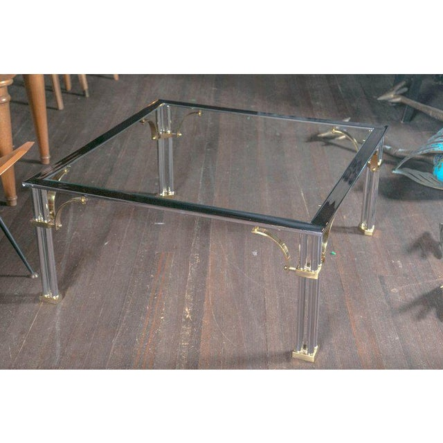 Fretwork Coffee Table.Chrome And Brass Square Fretwork Coffee Table