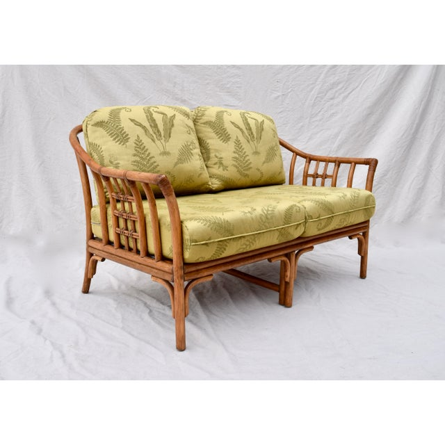 Ficks Reed Ficks Reed Style Settee & Ottoman For Sale - Image 4 of 13