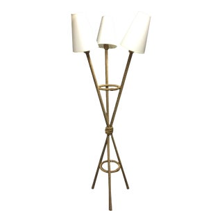 Tripod Rope Triple Shade Floor Lamp For Sale