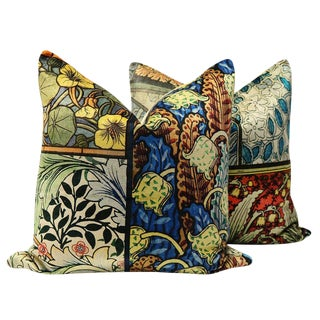 """22"""" Stained Glass Velvet Pillows - a Pair For Sale"""