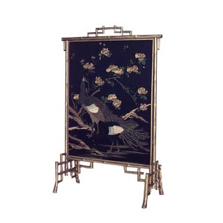 19th Century French Gilt Faux Bamboo Fire Screen For Sale