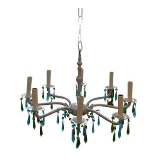 Mid-Century Spanish Silver Toned Brass 8 Light Blue & Green Crystal Icicle Prisms Chandelier For Sale