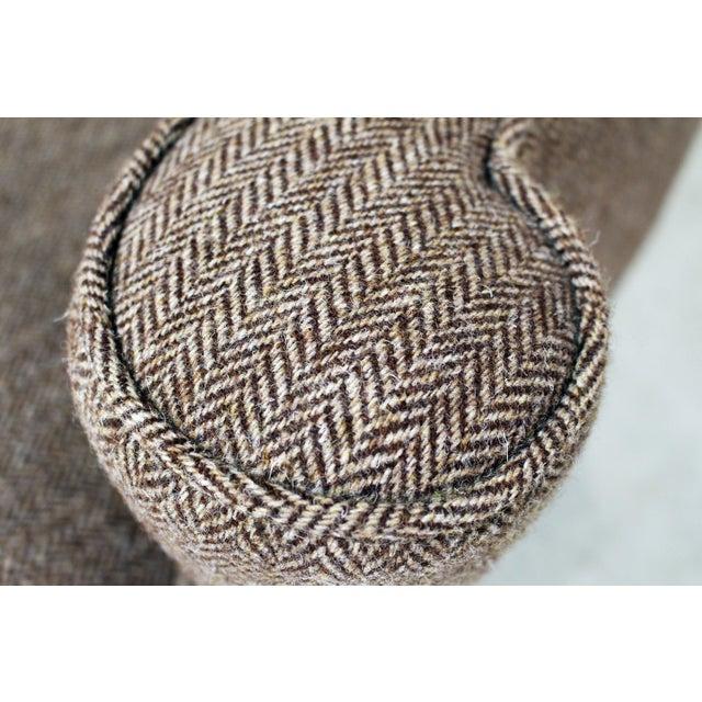 Wood Vintage Wing Chair Reupholstered in Vintage Harris Tweed Fabric For Sale - Image 7 of 11