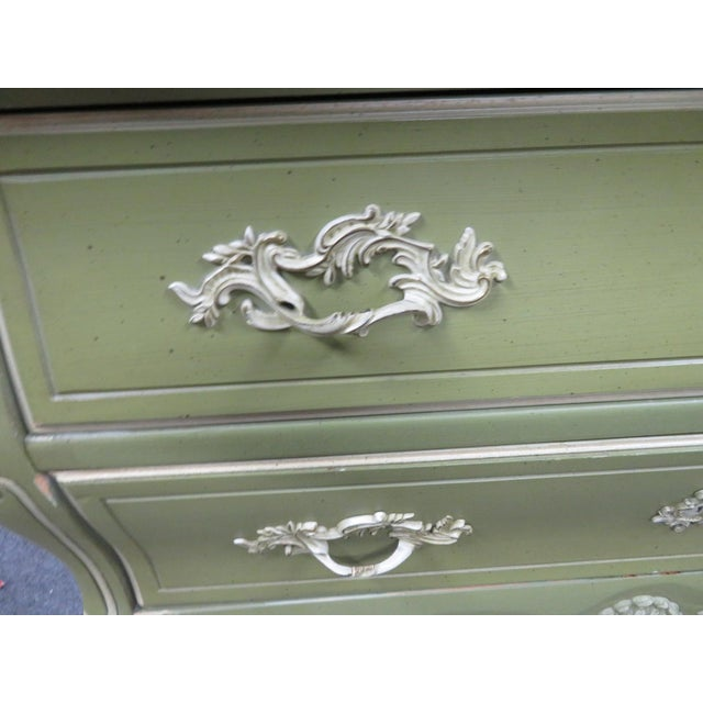 Mid 20th Century Louis XV Style Green & Cream Armoire For Sale - Image 5 of 7