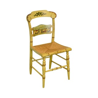 Hitchcock: Speeding on the Avenue Hand Painted & Stenciled Rush Seat Side Chair For Sale