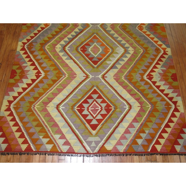 Vintage Turkish Kilim - 6′4″ × 10′5″ - Image 5 of 6