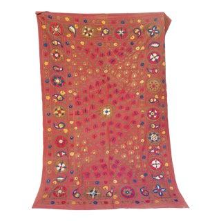 Vintage Turkish Bokara Suzani Blanket For Sale