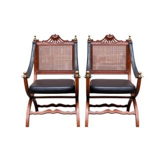 Italian Caned Leather Campaign Chairs - a Pair For Sale