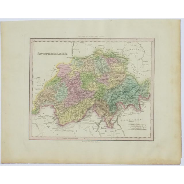 Realism Cowperthwait: Map of Switzerland, 1850 For Sale - Image 3 of 3