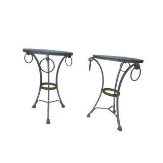 French Hollywood Regency Silver & Gold Gueridon Tables - A Pair