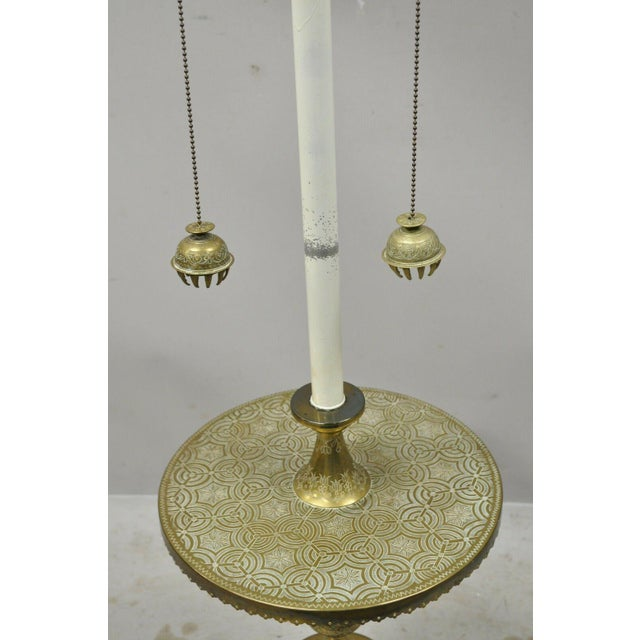 Metal Vintage Brass Indian Moroccan Boho Chic Etched Brass Side Table Pole Floor Lamp For Sale - Image 7 of 13