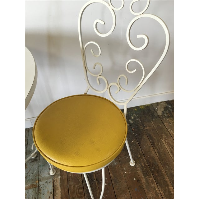 Vintage Wrought Iron Bistro Dining Set For Sale - Image 6 of 7