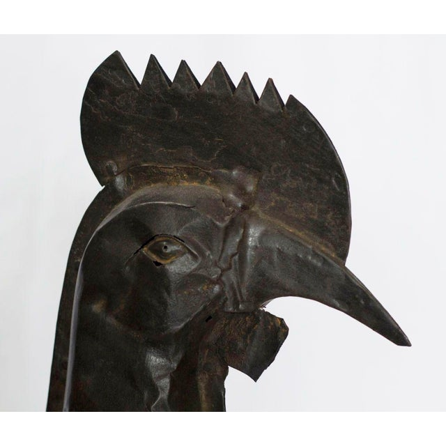 A large and interesting French rooster weathervane c. 1820. Nice bold graphic quality with an interesting old patina...