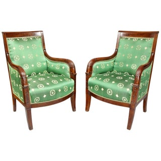 Pair of French Empire Mahogany Bergère Chairs For Sale