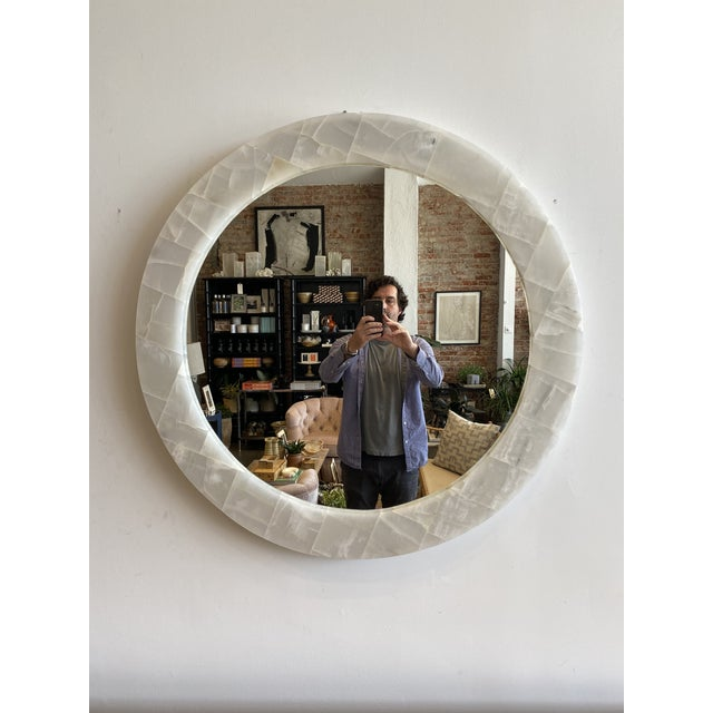 Glass Natural Onyx Round Mirror For Sale - Image 7 of 7
