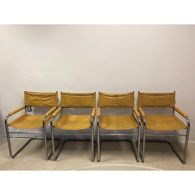 Bauhaus Mustard Leather Arm Chairs - Set of 4 - Image 2 of 7