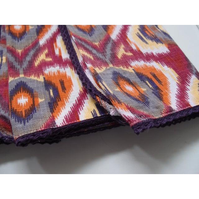 Cotton Plum Ikat Napkins - Set of 4 For Sale - Image 7 of 9