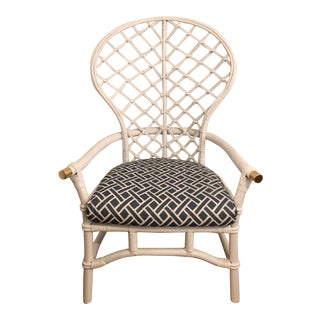 McGuire Hollywood Regency Bamboo Rattan Wicker Palm Beach Fretwork Fan Back Chair With New Custom Cushion and Back Pillow Brass Details For Sale