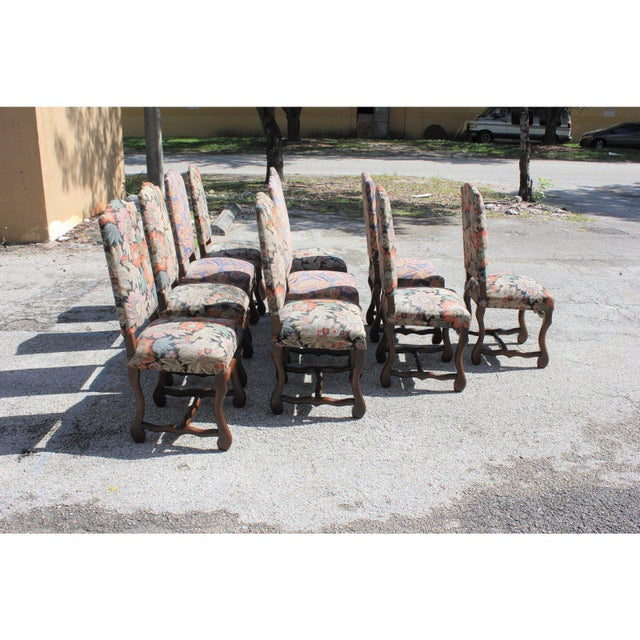 1900s Vintage French Louis XIII Style Os De Mouton Dining Chairs - Set of 10 For Sale - Image 4 of 13