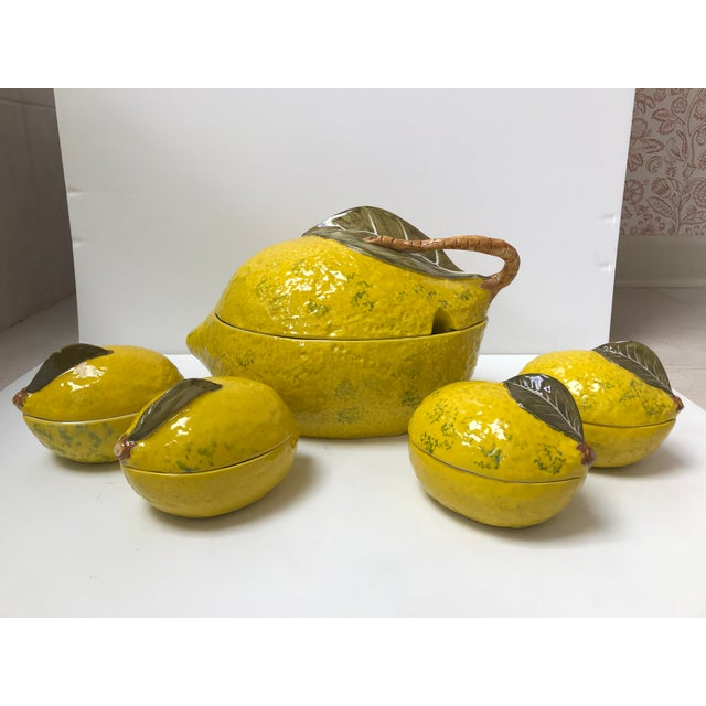 Green Vintage Italian Lemon Tureen and 4 Matching Soup Bowls For Sale - Image 8 of 9