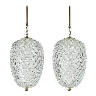 Glass Pineapple Pendant Lamps - a Pair For Sale