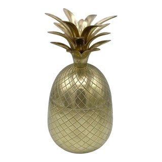"Vintage 1970's Brass Pineapple Ice Bucket 12"" For Sale"