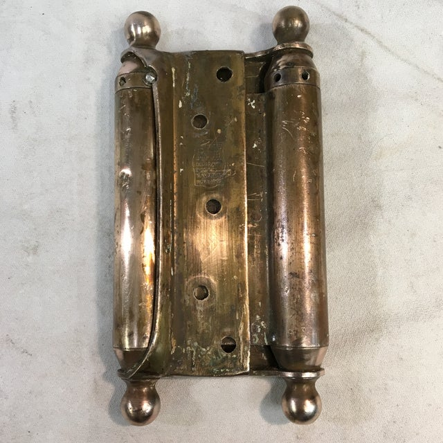 Victorian Antique 1905 Brass-Plated Swinging Door Hinges - a Pair For Sale - Image 3 of 10