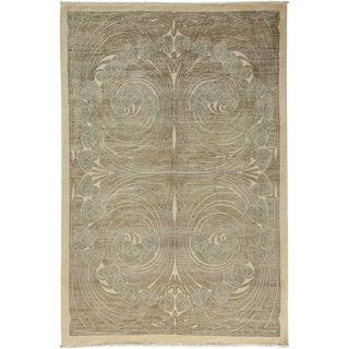 "Shalimar, Hand Knotted Art Nouveau Area Rug - 6' 3"" X 9' For Sale"