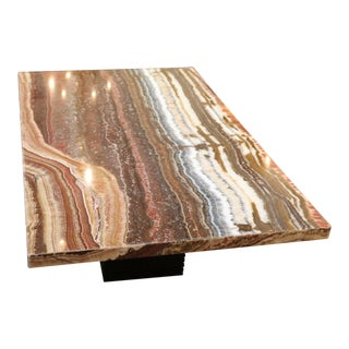 Contemporary Onyx Rectangle Coffee Table For Sale