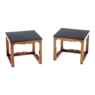 Early 20th Century Vintage Mike Talor for Baker Square Cube Shape Side End Tables- a Pair For Sale