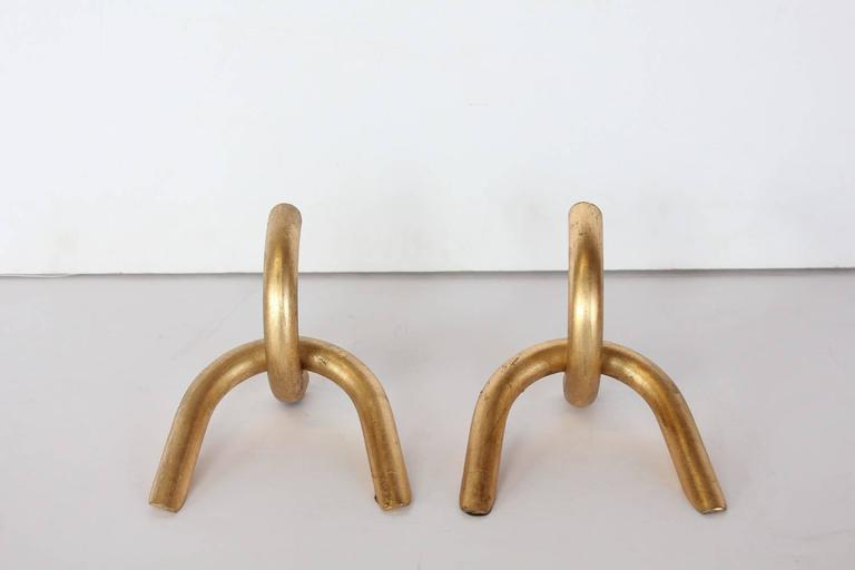 Modernist Gilded Chain Link Bookends   A Pair   Image 2 Of 4