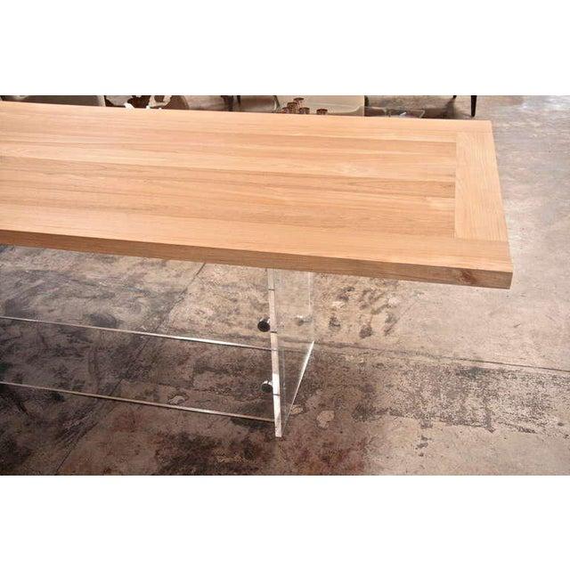 "Metal ""Spirit"" Burma Teak Table with Plexi Base For Sale - Image 7 of 9"