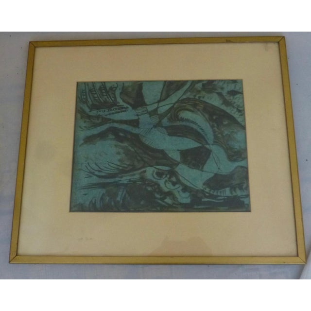 Abstract Mid Century Abstract Mixed Media Painting by Donald Berry For Sale - Image 3 of 13