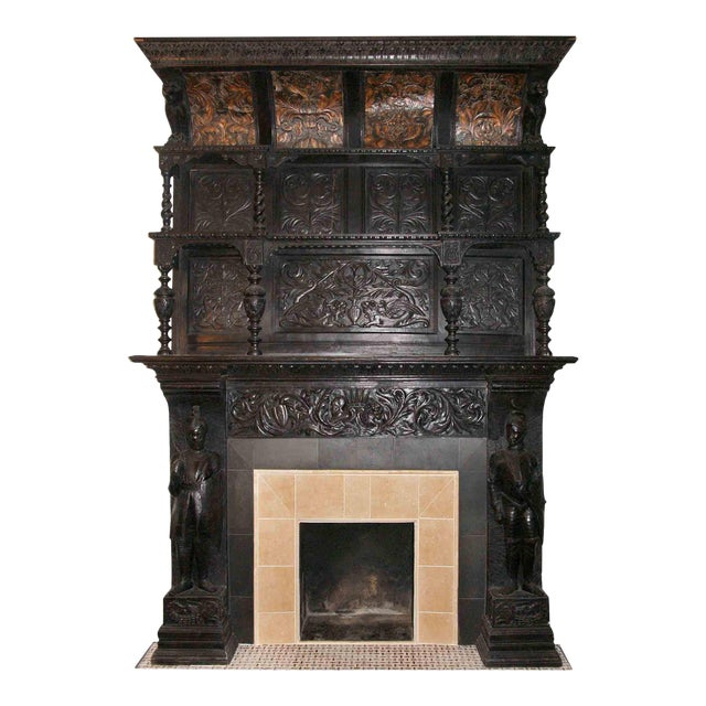 Late 19th Century German Renaissance Style Carved Chestnut Mantel For Sale